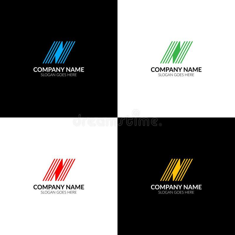 La letra N con las líneas logotipo, el plano del icono y el vector diseñan la plantilla El logotipo de la letra n para la marca o ilustración del vector