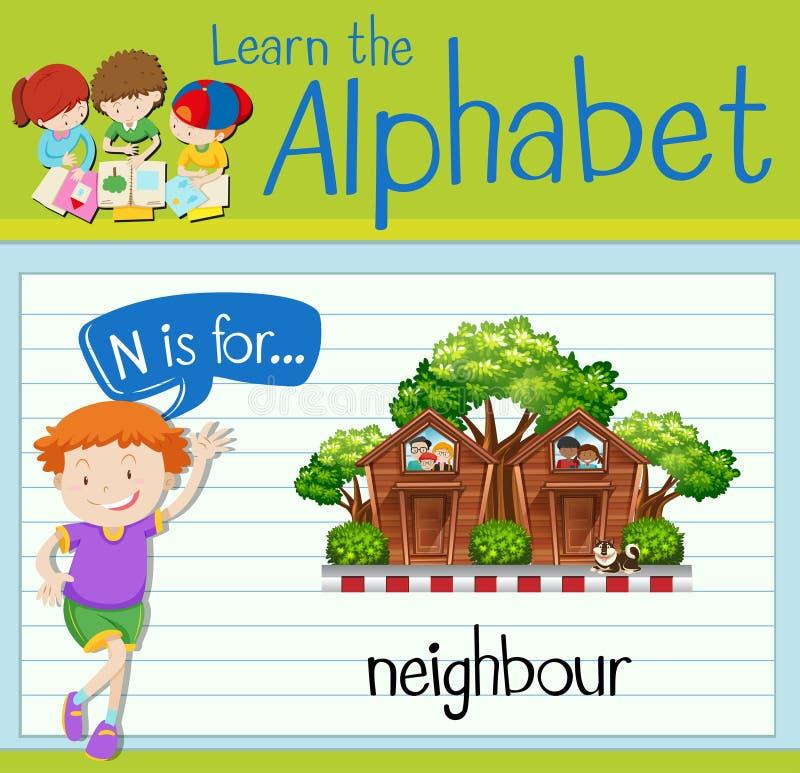 La letra N de Flashcard está para el vecino stock de ilustración