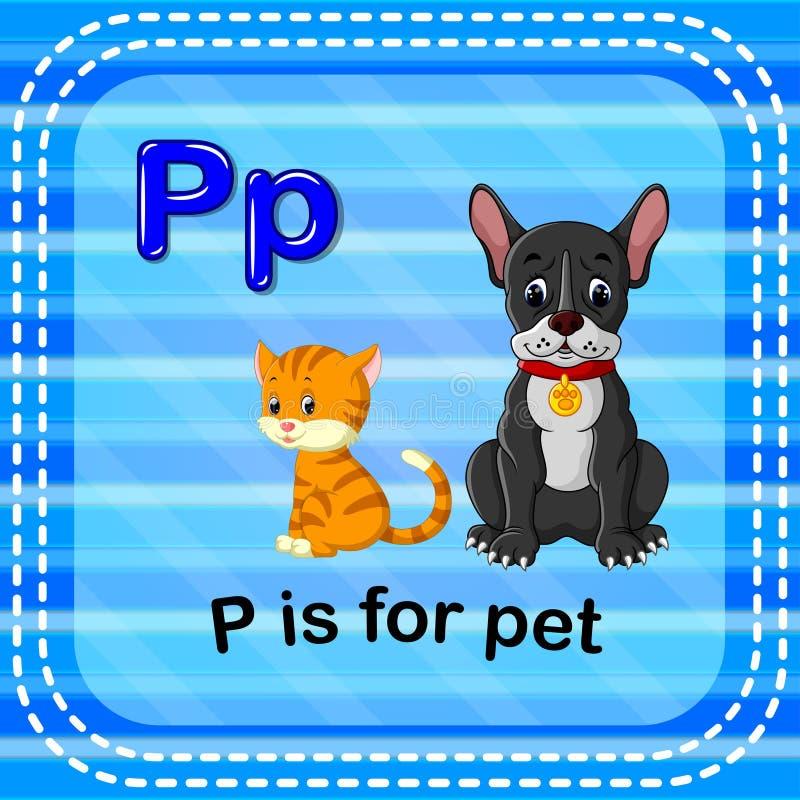 La letra P de Flashcard está para el animal doméstico libre illustration