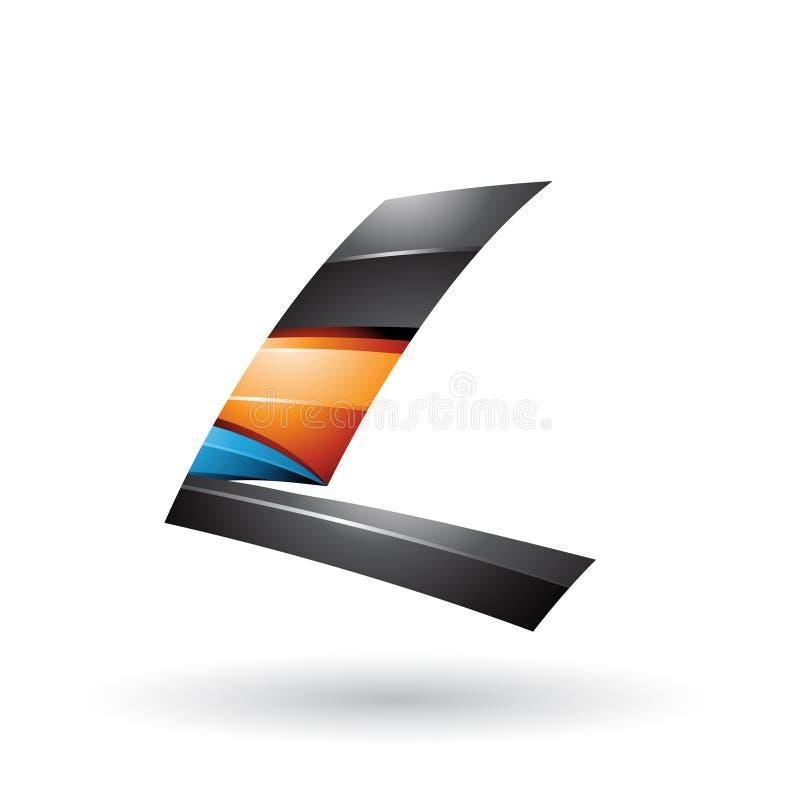 La letra que volaba brillante dinámica negra y anaranjada L aisló en un fondo blanco stock de ilustración