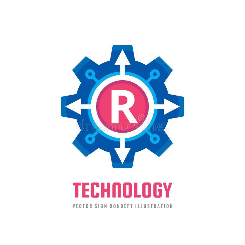 La letra R de la tecnología - vector el ejemplo del concepto de la plantilla del logotipo Muestra del extracto del engranaje de l stock de ilustración