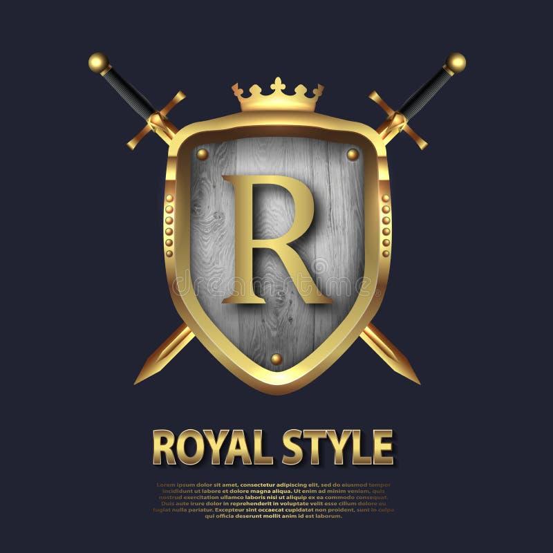 La letra R y dos cruzó las espadas y el escudo con la corona Dise?o de letra en el color oro para las aplicaciones como s?mbolo h ilustración del vector