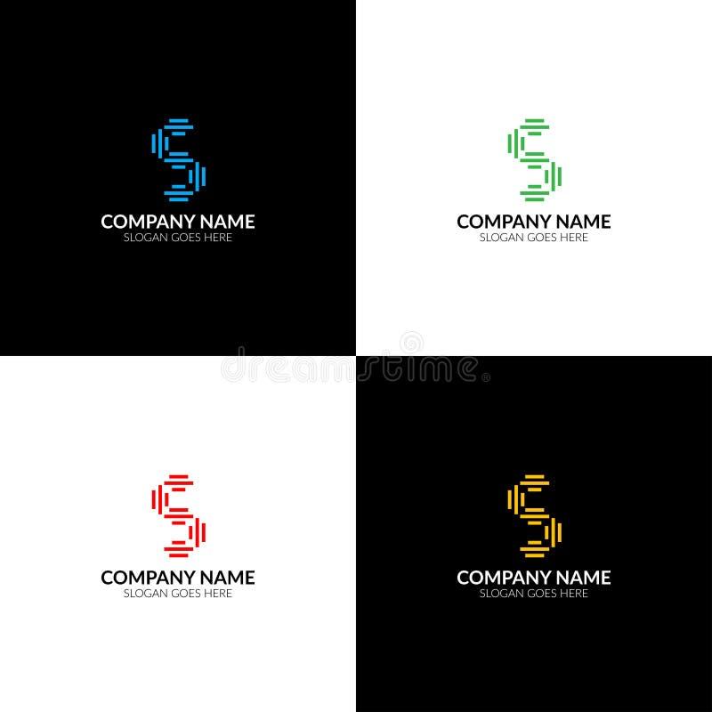 La letra S con las líneas logotipo, el plano del icono y el vector diseñan la plantilla El logotipo de la letra s para la marca o ilustración del vector