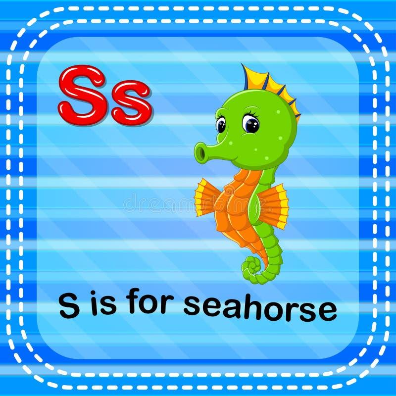 La letra S de Flashcard está para el seahorse ilustración del vector