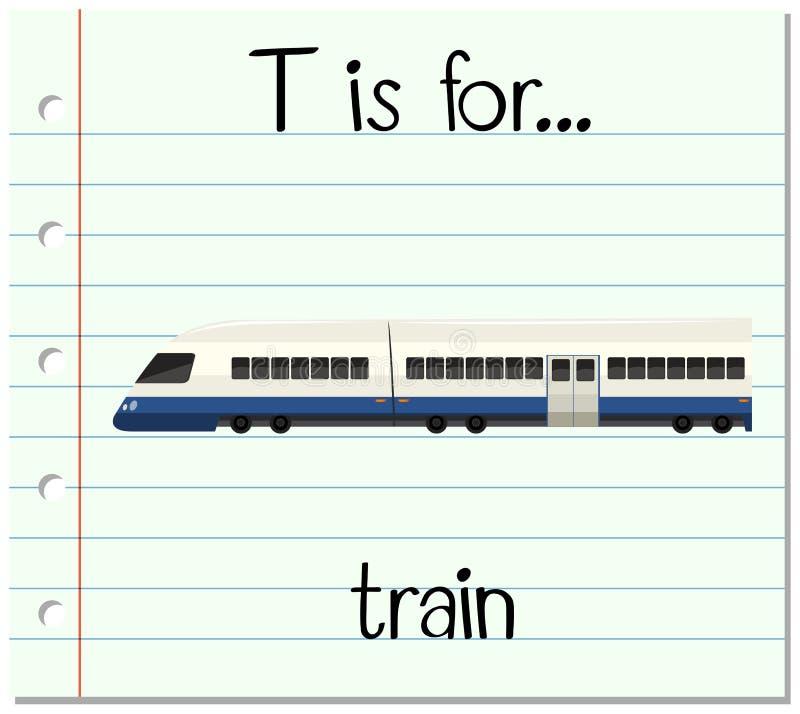 La letra T de Flashcard está para el tren stock de ilustración