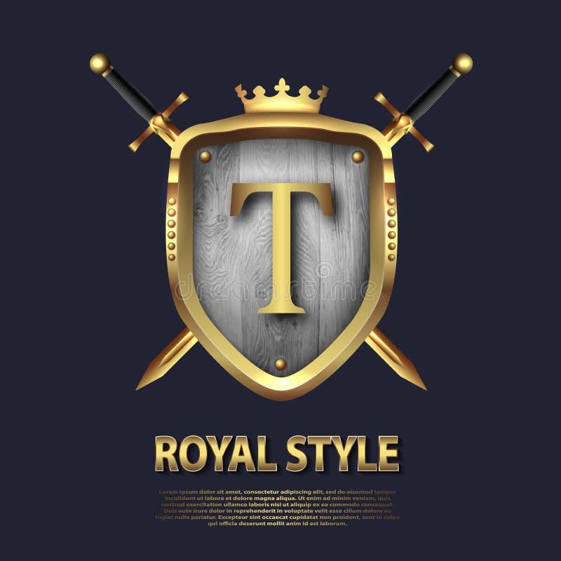 La letra T y dos cruzó las espadas y el escudo con la corona Dise?o de letra en el color oro para las aplicaciones como s?mbolo h libre illustration