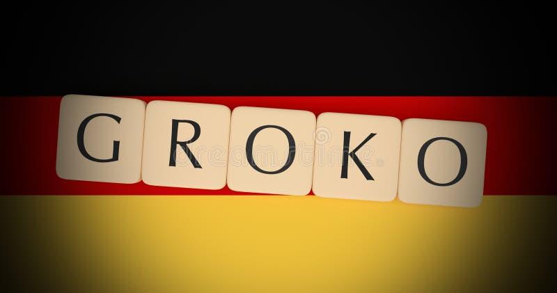 La letra teja Groko, palabra alemana para la gran coalición, en bandera alemana, el ejemplo 3d stock de ilustración