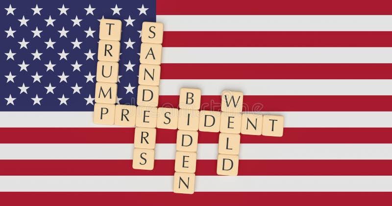 La letra teja a Major Candidates Running For Presidente en 2020 con la bandera de los E.E.U.U., ejemplo 3d stock de ilustración