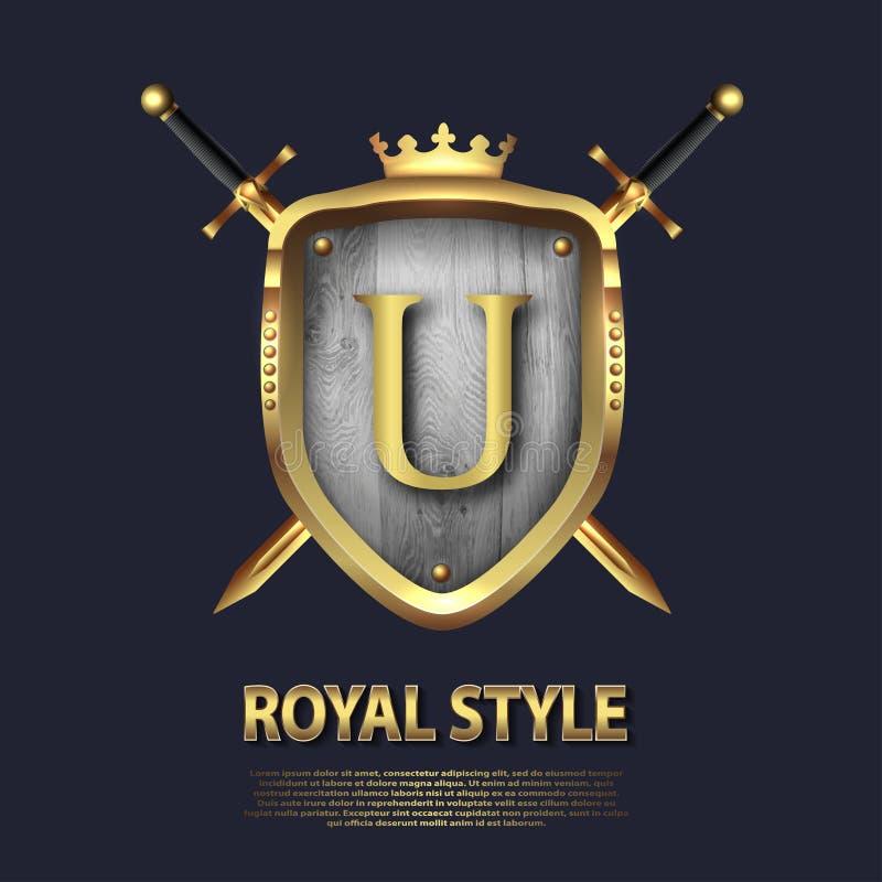 La letra U y dos cruzó las espadas y el escudo con la corona Dise?o de letra en el color oro para las aplicaciones como s?mbolo h ilustración del vector