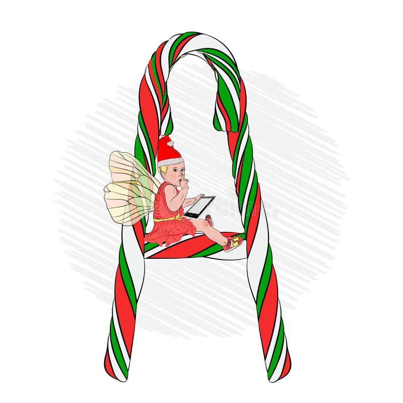 La letra A, una letra grande hecha del caramelo rayado libre illustration