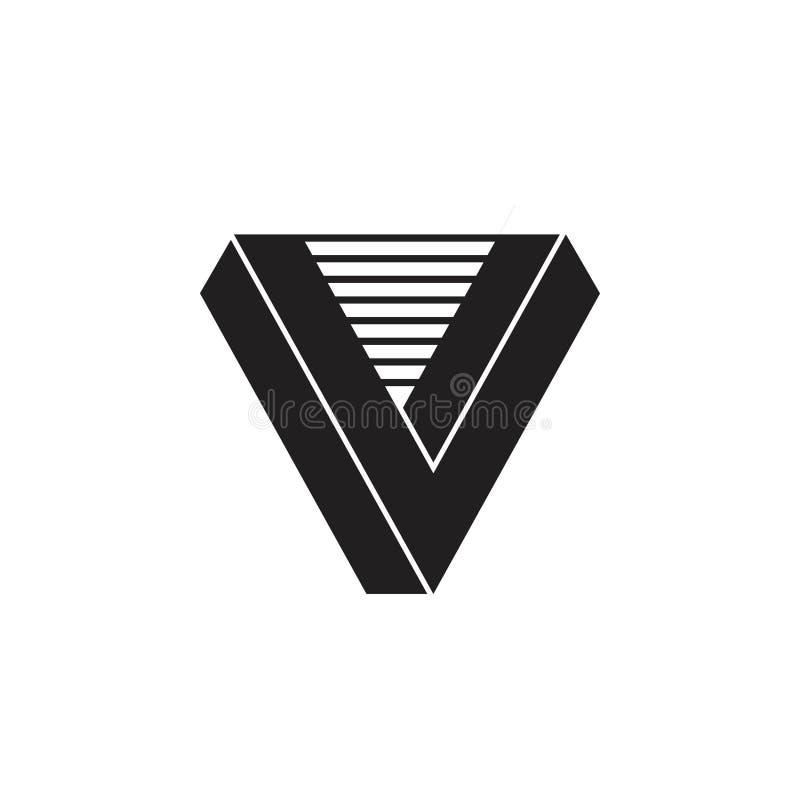 La letra v 3d raya vector del logotipo stock de ilustración