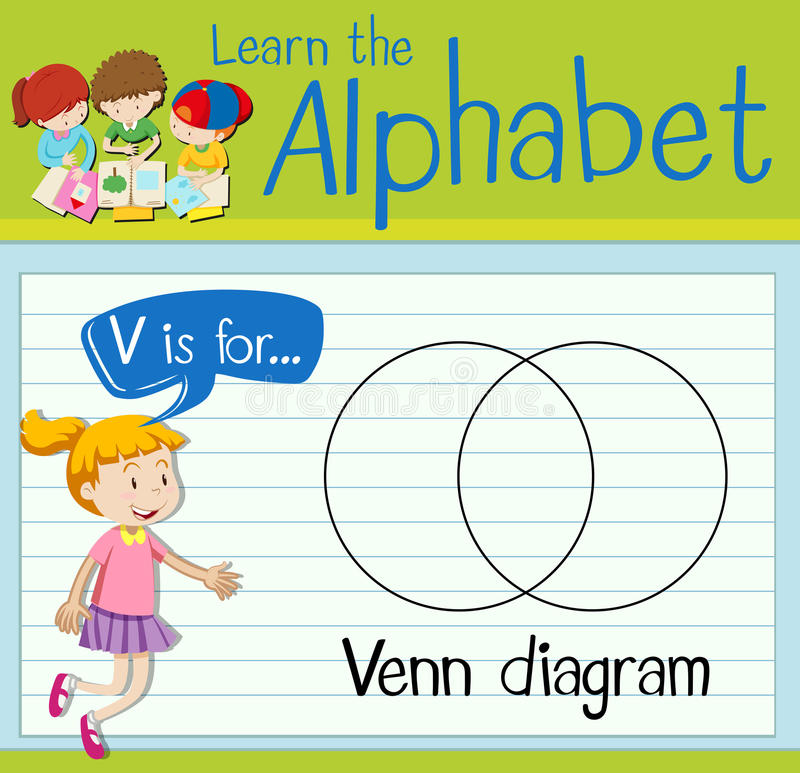 La letra V de Flashcard está para el diagrama del venn libre illustration