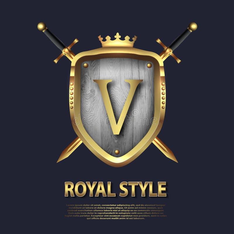La letra V y dos cruzó las espadas y el escudo con la corona Dise?o de letra en el color oro para las aplicaciones como s?mbolo h ilustración del vector