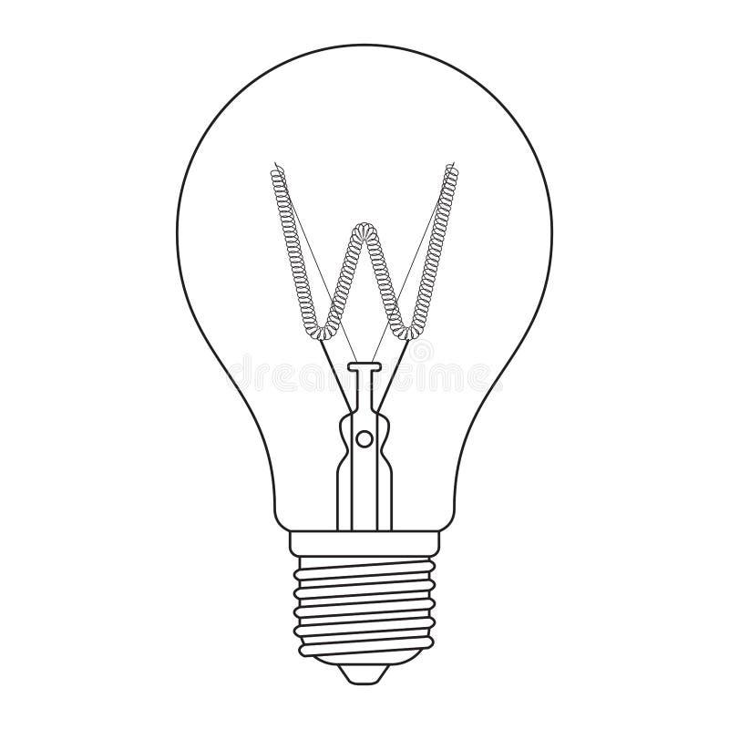 La letra W, en el sistema incandescente de la bombilla del alfabeto stock de ilustración