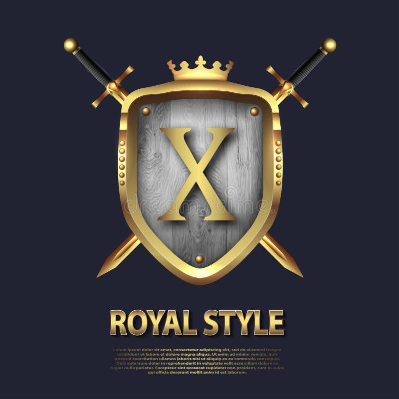 La letra X y dos cruzó las espadas y el escudo con la corona Dise?o de letra en el color oro para las aplicaciones como s?mbolo h stock de ilustración