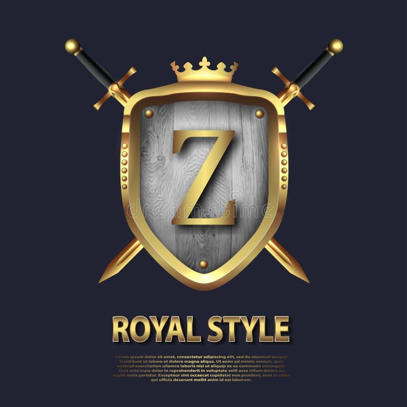 La letra Z y dos cruzó las espadas y el escudo con la corona Dise?o de letra en el color oro para las aplicaciones como s?mbolo h libre illustration