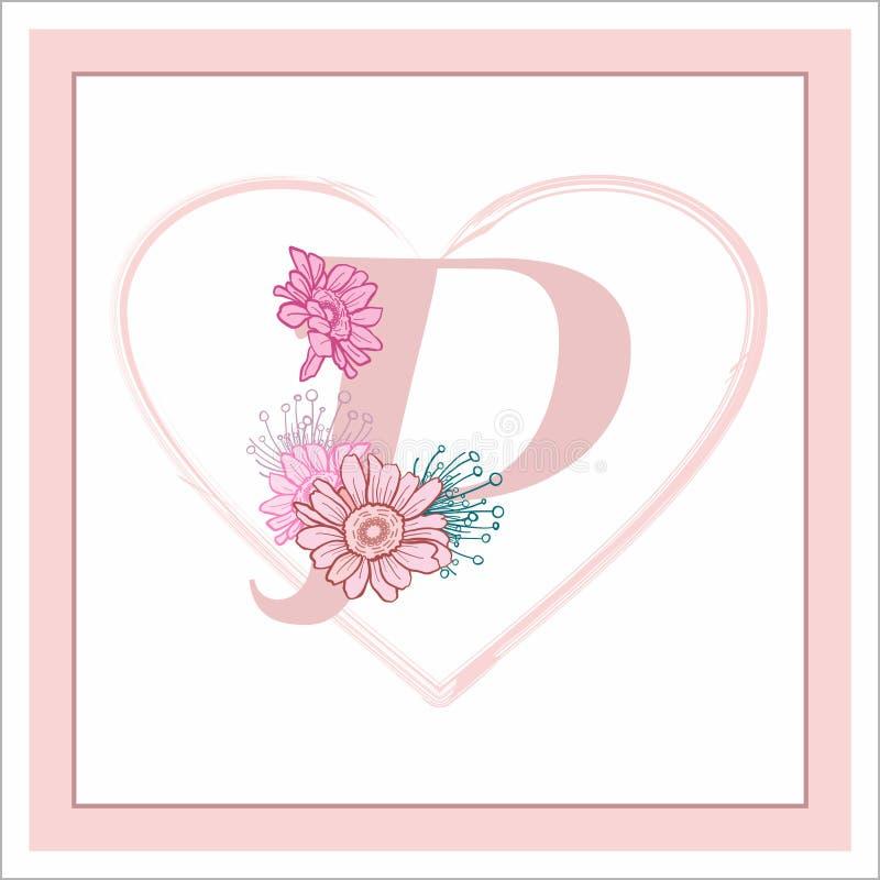 """La lettera """"P """"nell'alfabeto Decorativo decorato con i fiori fotografie stock"""