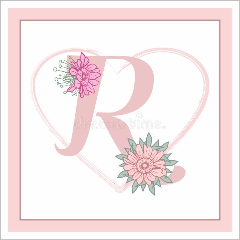 """La lettera """"R """"nell'alfabeto Decorativo decorato con i fiori immagine stock"""