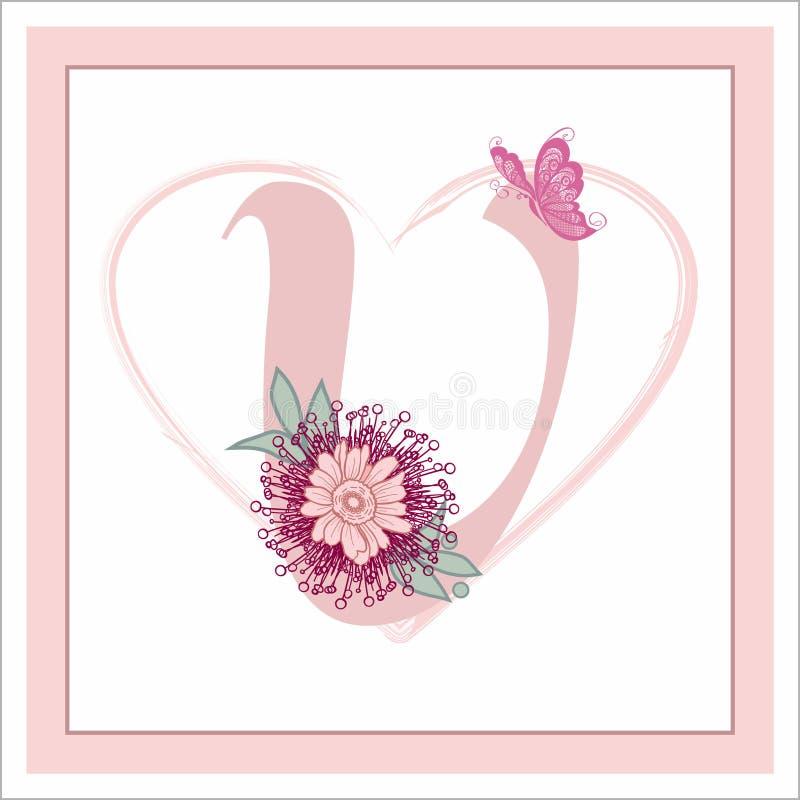 """La lettera """"V """"nell'alfabeto Decorativo decorato con i fiori fotografia stock libera da diritti"""