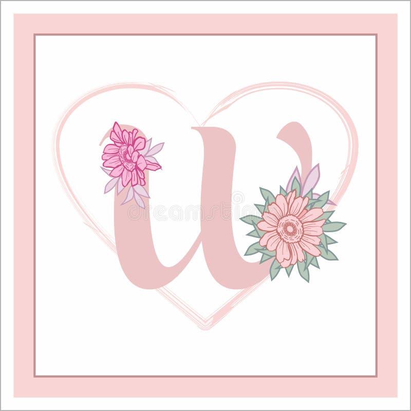 """La lettera """"W """"nell'alfabeto Decorativo decorato con i fiori fotografia stock libera da diritti"""