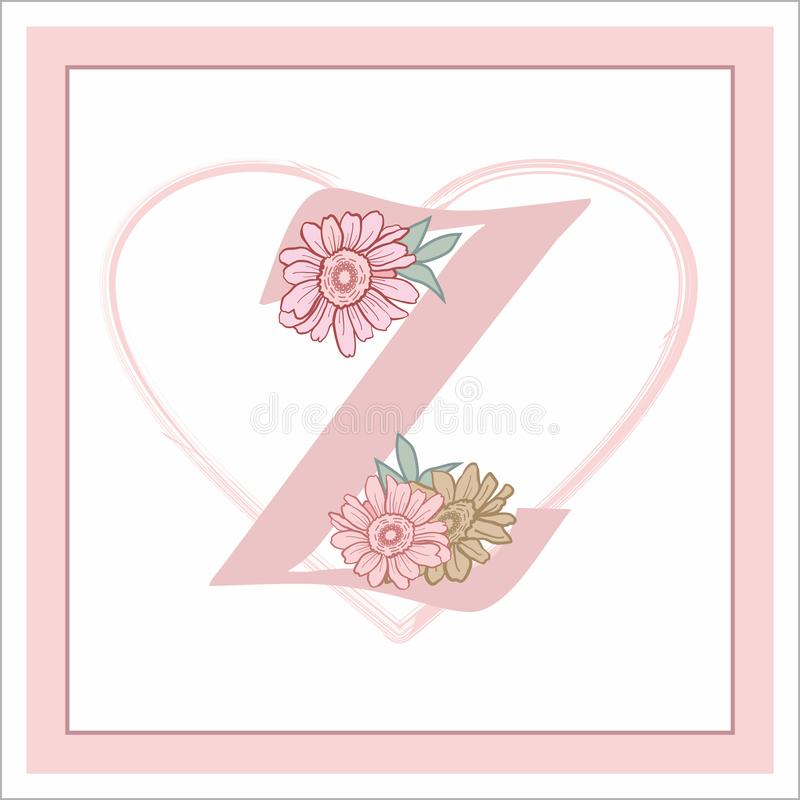"""La lettera """"Z """"nell'alfabeto Decorativo decorato con i fiori fotografia stock"""