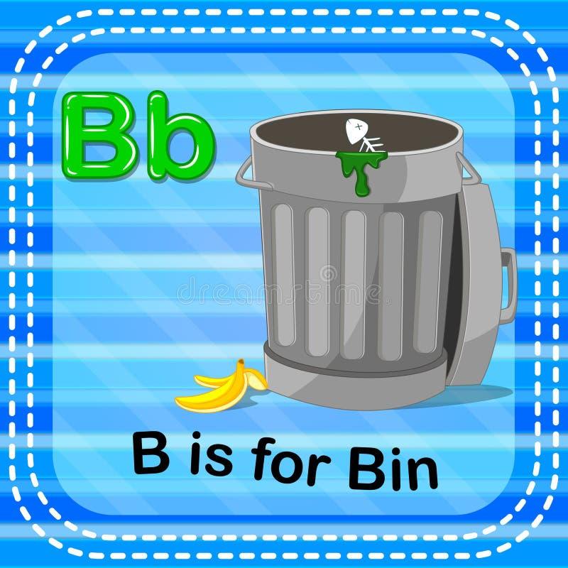 La lettera B di Flashcard è per il recipiente illustrazione vettoriale