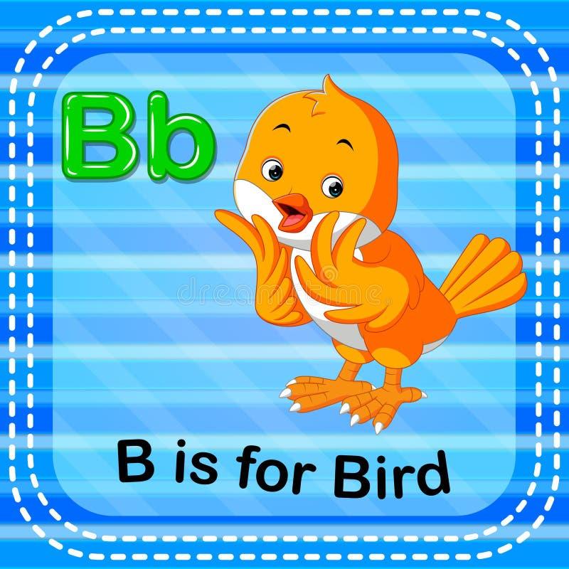 La lettera B di Flashcard è per l'uccello illustrazione vettoriale