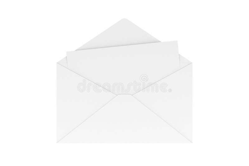La lettera in bianco dentro avvolge isolato su bianco, la rappresentazione 3D immagini stock libere da diritti
