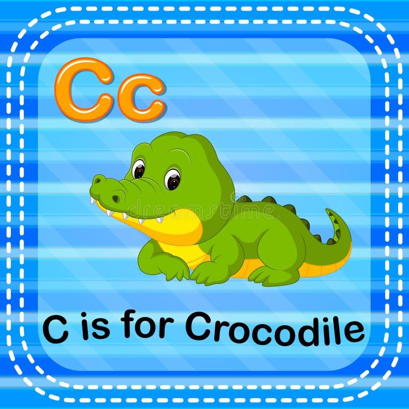 La lettera C di Flashcard è per il coccodrillo illustrazione di stock