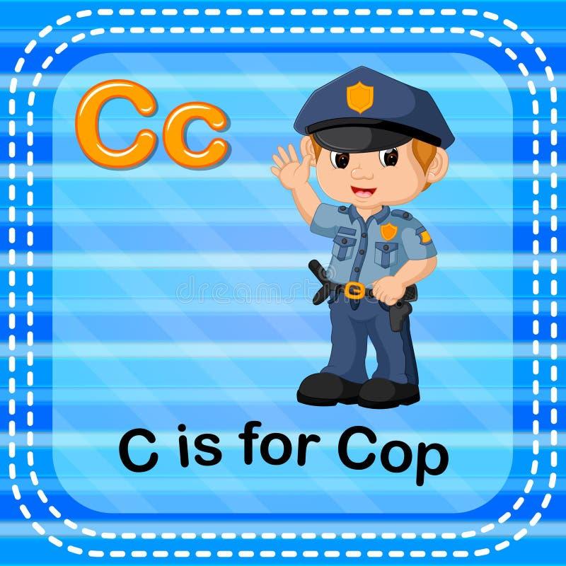 La lettera C di Flashcard è per il poliziotto illustrazione vettoriale