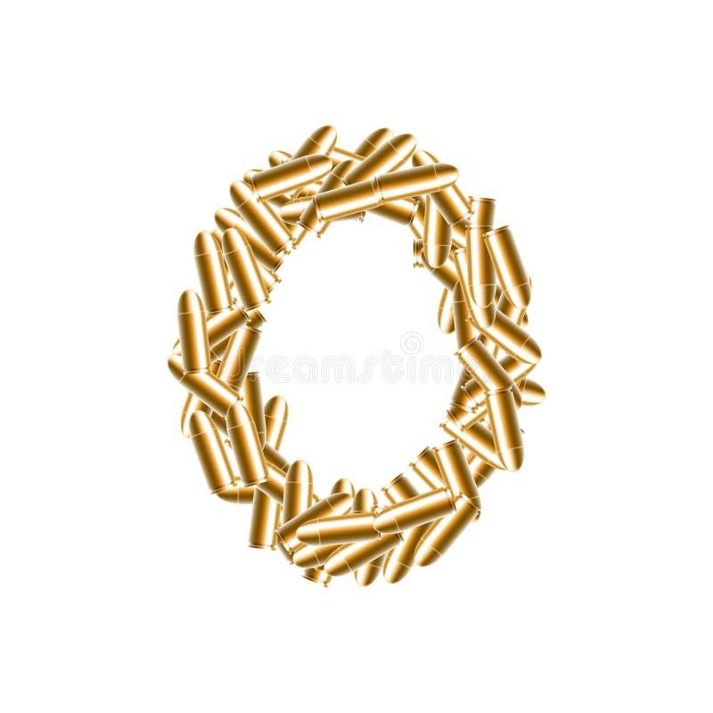 La lettera colore dell'oro di numeri zero o 0, nell'insieme della pallottola di alfabeto, progettazione virtuale dell'illustrazio royalty illustrazione gratis