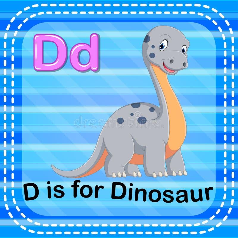 La lettera D di Flashcard è per il dinosauro illustrazione di stock