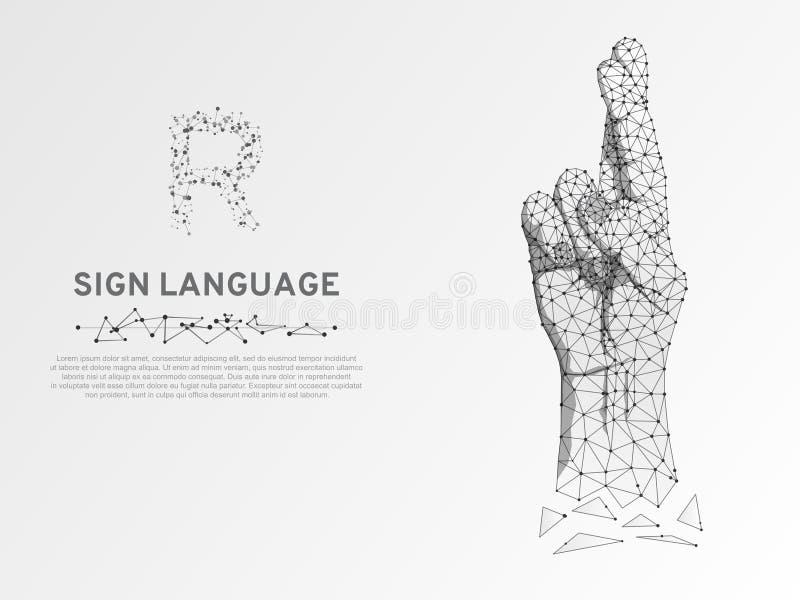 La lettera di linguaggio dei segni R di origami, dita ha attraversato, vettore silenzioso di comunicazione della poli gente bassa illustrazione di stock