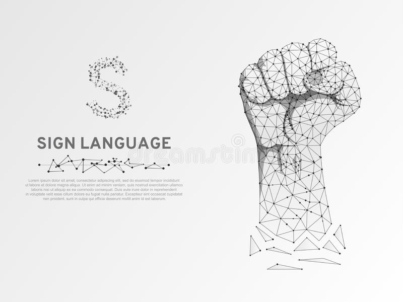 La lettera di linguaggio dei segni S di origami, ha sollevato vettore sordo basso poligonale di comunicazione della poli mano bas illustrazione di stock