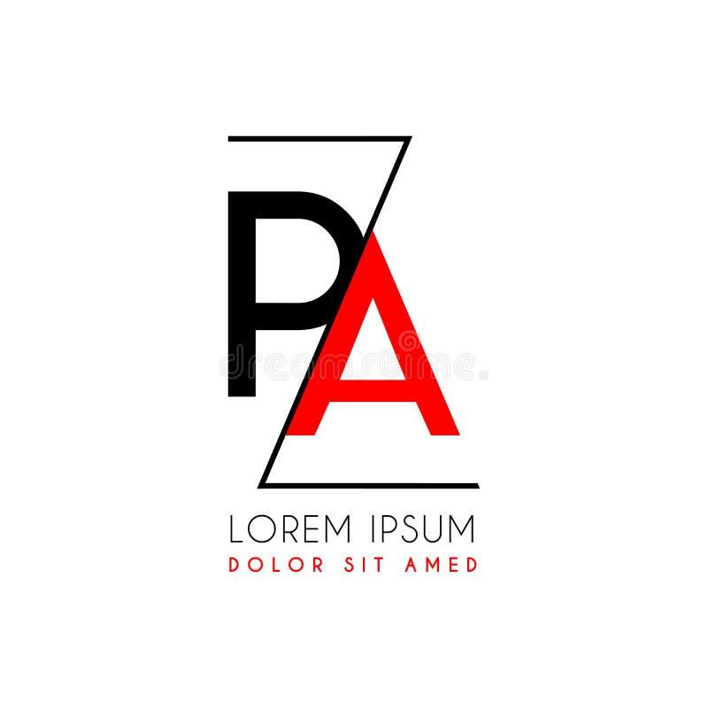 La lettera di logo di PA ha separato da una linea nera di zigzag illustrazione vettoriale