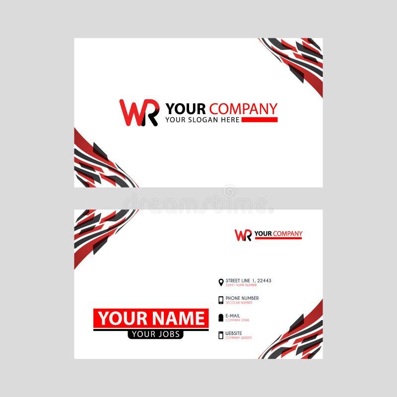 la lettera di logo di WR con la decorazione della scatola sul bordo e un biglietto da visita di indennità con una disposizione mo illustrazione vettoriale