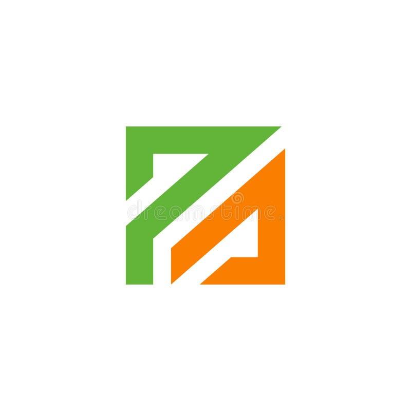 La lettera di PA ha basato Logo Icon Progettazione verde ed arancio di colore Illustrazione quadrata di vettore di forma royalty illustrazione gratis