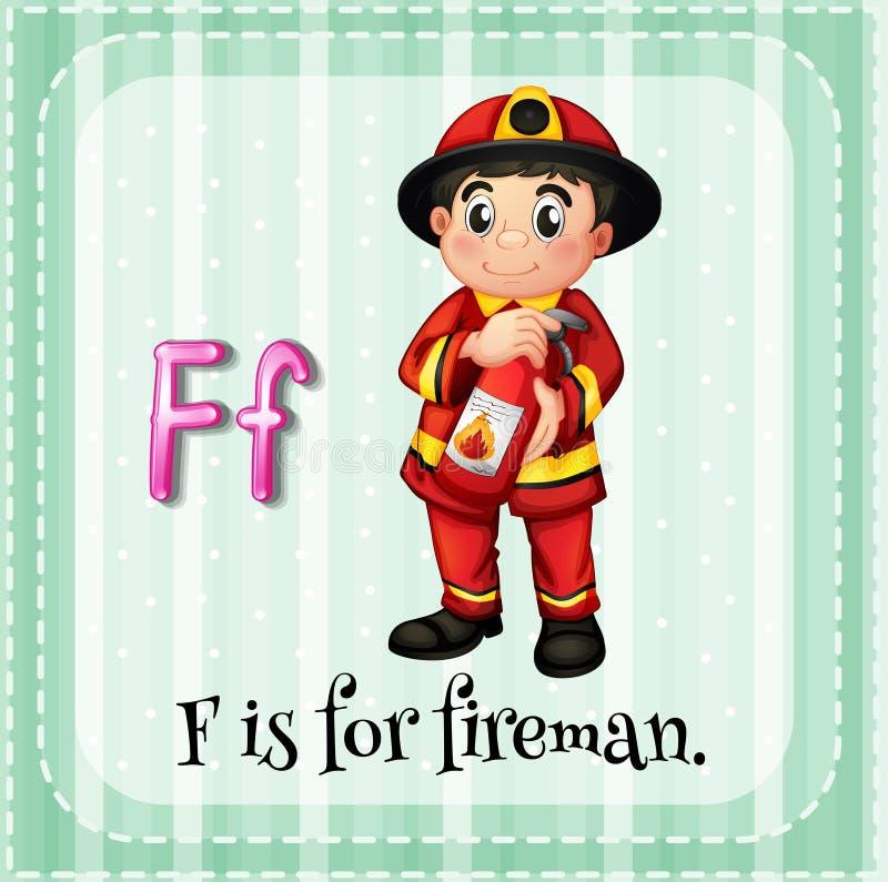 La lettera F di Flashcard è per il vigile del fuoco illustrazione vettoriale
