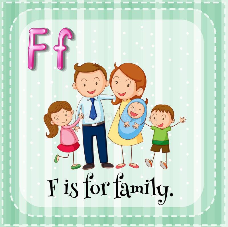 La lettera F di Flashcard è per la famiglia illustrazione di stock