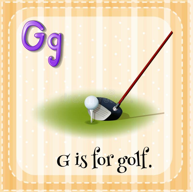 La lettera G di Flashcard è per il golf illustrazione di stock