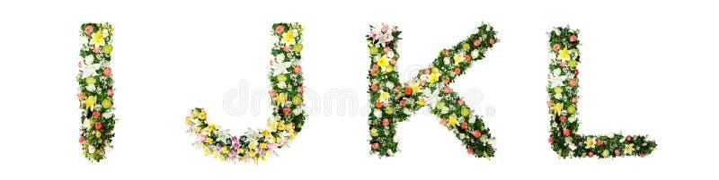 La lettera I J K L dell'alfabeto ha fatto dai fiori variopinti isolati su w immagini stock