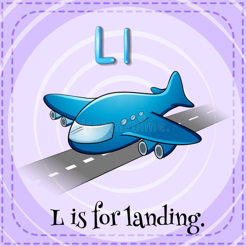 La lettera L di Flashcard è per atterrare illustrazione vettoriale