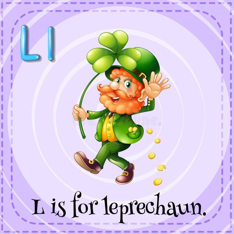 La lettera L di Flashcard è per il leprechaun illustrazione di stock