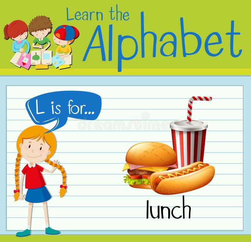 La lettera L di Flashcard è per pranzo royalty illustrazione gratis
