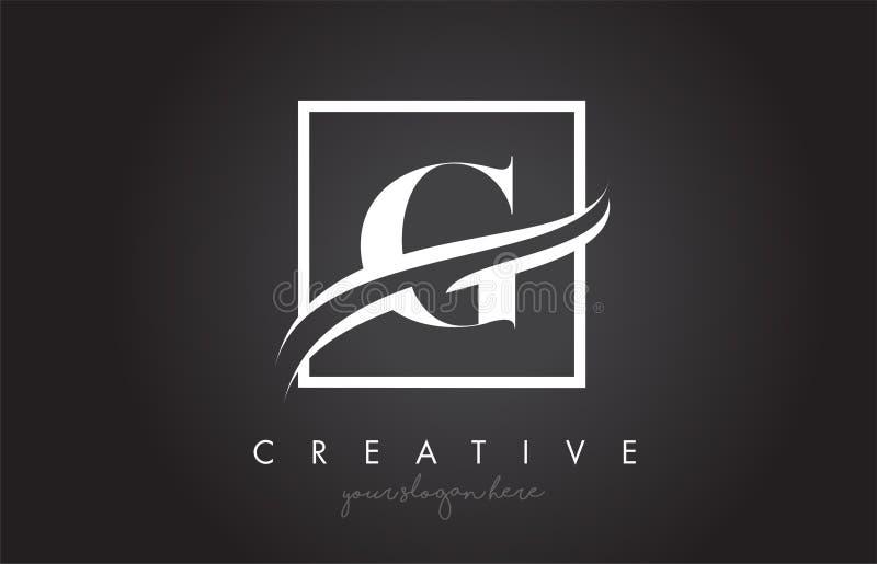 La lettera Logo Design di G con il quadrato mormora il confine e la progettazione creativa dell'icona illustrazione di stock