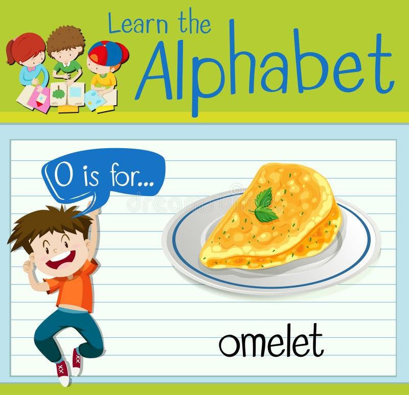 La lettera O di Flashcard è per l'omelette royalty illustrazione gratis