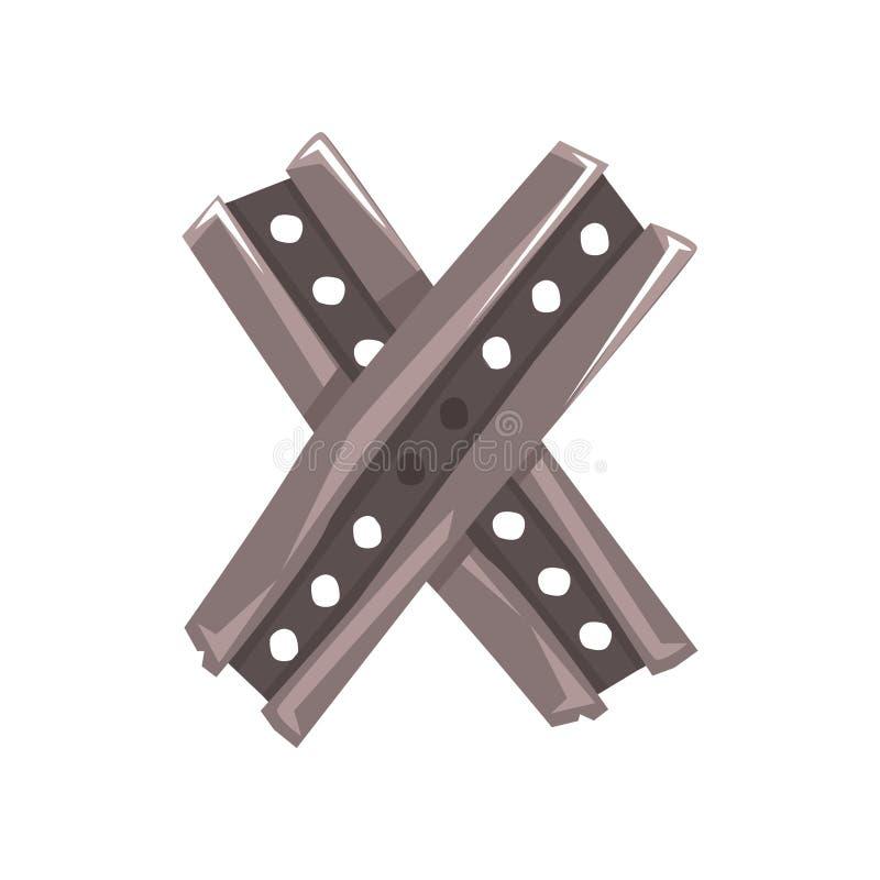 La lettera originale X costituito da due ha attraversato le plance d'acciaio illustrazione di stock