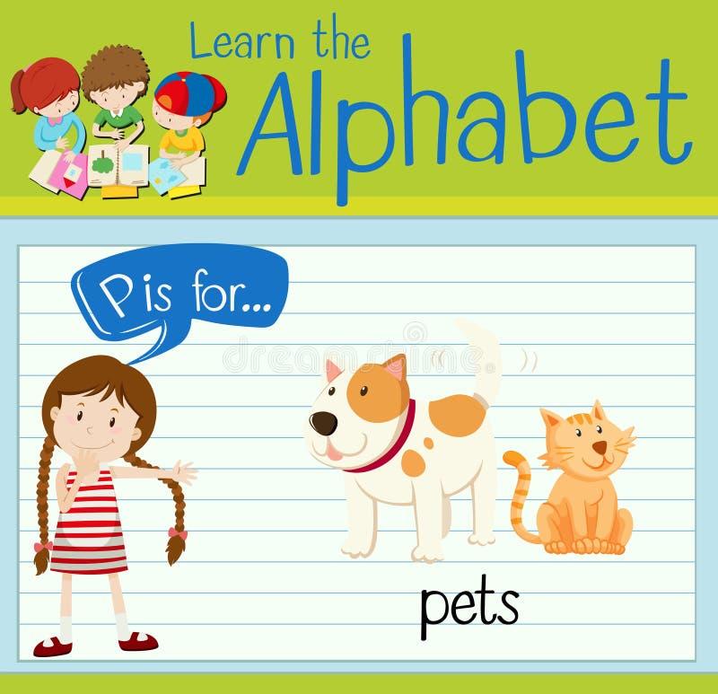 La lettera P di Flashcard è per gli animali domestici illustrazione vettoriale