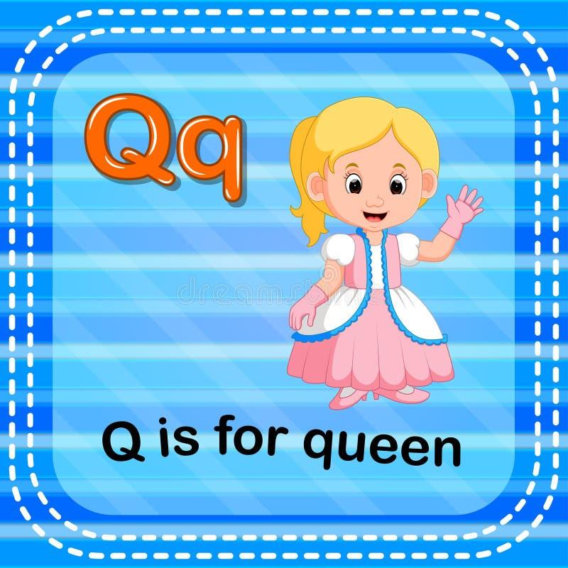 La lettera Q di Flashcard è per la regina royalty illustrazione gratis