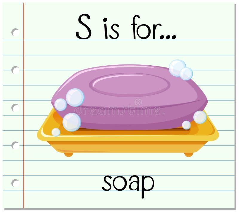 La lettera S di Flashcard è per sapone illustrazione vettoriale